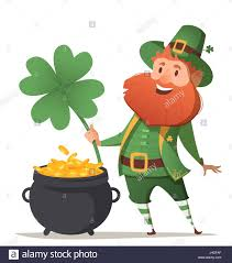 leprechaun with a pot of gold and four leaf clover and luck stock    leprechaun   a pot of gold and four leaf clover and luck  illustration for st  patrick s day  vector illustration