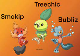 Generation 3 Starters with alternate types! Drawn by me using the original gen  3 starter art as a base.: pokemon