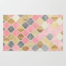 pink and gold rug extravagant silver grey soft wood moroccan pattern area throw home ideas 3
