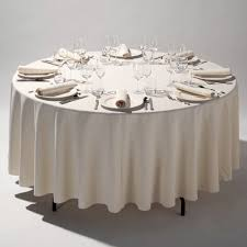 118in 300cm round ivory tablecloth