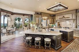 Full Size of Mediterranean Kitchen With Tiled Walls With Metal Wall Tile  Backsplash And Leather Bar ...
