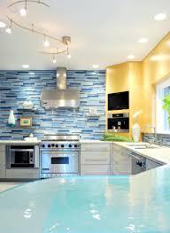 blue color scheme mosaic kitchen backsplash