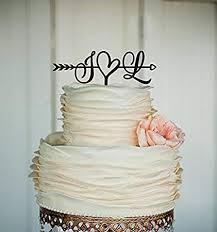 Initials Cake Topper Wedding Arrow Cake Topper Rustic Cake Topper