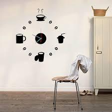 diy home decorative modern design decal art mural coffee cup sticker wall clock decor black