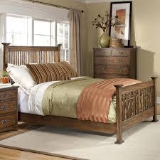 Mission Bedroom Furniture Intercon Oak Park Complete Queen Standard Slat Bed Old Brick