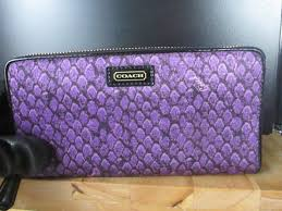 ... coach purple and black sale taylor snake print accordion zip around  50089 wallet off retail