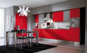 Red And Grey Kitchen Cabinets