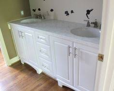 Wonderful White Bathroom Cabinets With Granite Wooden Vanities Tops Silver Handle Decor