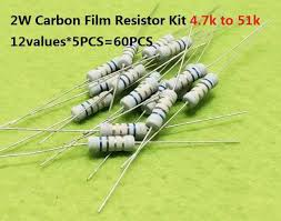 12values*5PCS=<b>60PCS</b> 4.7Kohm 51k ohms <b>2W</b> 5% Carbon Fillm ...