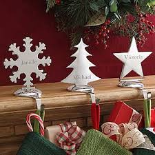 Engraved Nickel-Plate Stocking Holders - on sale now at  PersonalizationMall! #Christmas