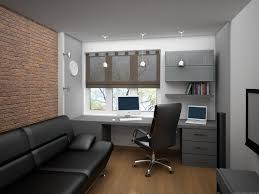 simple home office design with dark gray office table front shades glass window and pendant lamp black leather sofa office