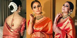 hina khan in red kanjivaram saree for dubai fashion league