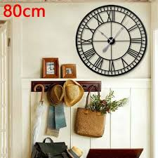 metal roman numeral wall clock 80cm