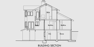 house rear elevation view for 10048 view house plans sloping lot house plans multi