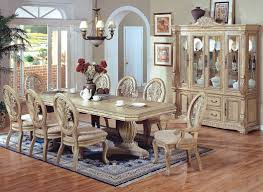 antique white wash dining set. 7 pc hampton ii antique white wash finish wood double pedestal dining table set with carved e
