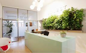 green office ideas. Cozy Office Design For Comfortable Workplace: Green Living Wall At The Reception With Fancy. « Ideas