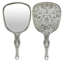 ornate hand mirror. Image Is Loading Ladies-Hand-Mirror-with-Ornate-Silver-Design-Vintage- Ornate Hand Mirror E