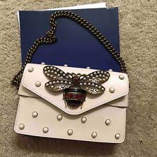 gucci clutch. gucci broadway clutch shoulder bag white leather with pearls retail $3200+tax