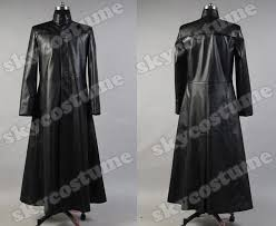 the matrix neo long black leather coat cosplay costume from the matrix