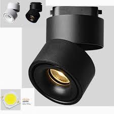 adjule 15w 20w cob led spotlight indoor track lighting rail lamps dimmable 110v 220v black white for home s s in track lighting from