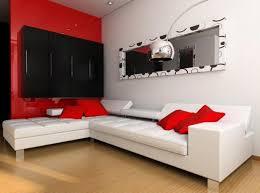 black white red living