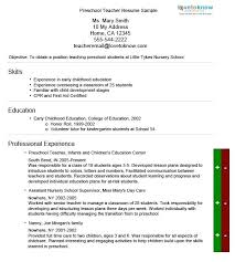 Nursery School Teacher Resume Sample Preschool Teacher Resume