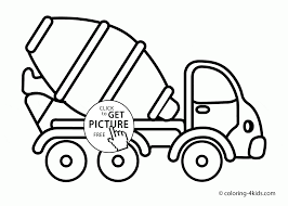 Cement Truck Coloring Page For Toddlers