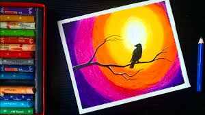 sunset bird scenery oil pastel drawing easy oil pastel drawing