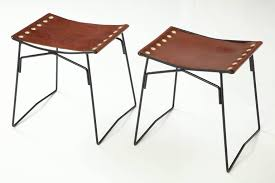 elegant french stools with riveted leather slings the slings were inspired by my bottega veneta