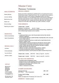 Pharmacy Technician Resume Medicine Sample Example Health