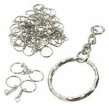 <b>100Pcs</b> Silver Keyring Blanks Tone <b>Key Chains</b> Key <b>Split</b> Rings With ...