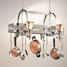 pot rack chandelier with downlights