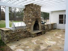 build your own outdoor fireplace designs with stainless steel barbeque grill stone countertop under white