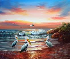 sunset pelicans seascape bird avian beach surf stretched 20x24 oil painting