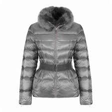 designer ted baker women s junnie down jacket with faux fur collar light grey