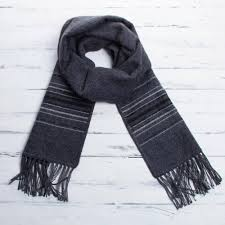 fair trade woven dark gray alpaca blend scarf for men andean clouds in charcoal