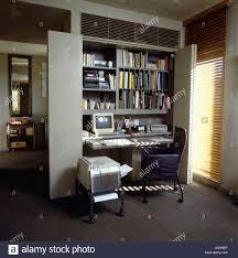 fold away office desk. Computer On Desk Below Shelving In Modern Gray Foldaway Homeoffice Fold Away Office O
