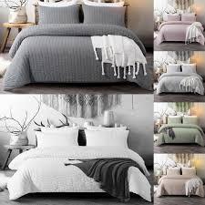 details about solid color duvet cover set seerer washed microfiber bedding set queen king