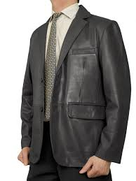 mens luxury leather blazer jacket 2 on black