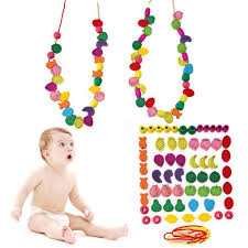 Wooden Bead Game 100 Wooden Fruit Animal Number Stringing Threading Beads Game 39