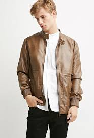 21men 21 faux leather snap collar jacket