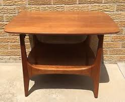 Heywood Wakefield Mid Century Modern End Table Two Tiered Doeskin