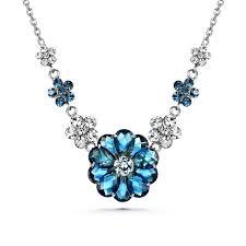 joudoo woman jewelry 16k gold swarovski crystal blue flower necklace inlaid chain platinum