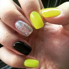 Summer Nails. Black and yellow. Neon nails. Glitter nail. Gel ...