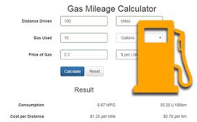 Us Highway Mileage Chart Gas Mileage Calculator Free Php Script Phpjabbers