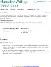 Narrative Writing Seed Ideas Narrative Writing Personal