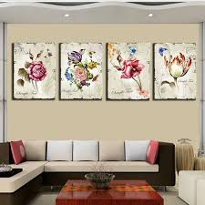 4 pieces classic floral canvas painting flower new art modular pictures combination home interior wall pictures for living room in painting calligraphy  on canvas floral wall art with 4 pieces classic floral canvas painting flower new art modular