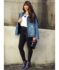 Stylish white pants ideas for ladies Shirt Woman Wearing Hiplength Denim Jacket With Black Jeans And Cage Heels Real Simple Tips On How To Wear Jean Jacket With Any Outfit Real Simple