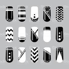 ネイル アート デザイン黒と白の幾何学的な爪テンプレートのベクター