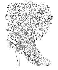 High Heel Boot With Flowers Coloring